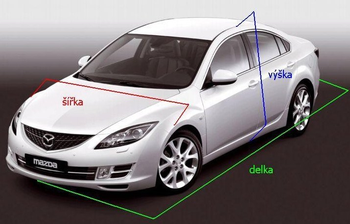 Rozměry auta pro výběr autoplachty