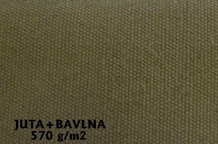 Bavlna + juta 570g khaki zelená